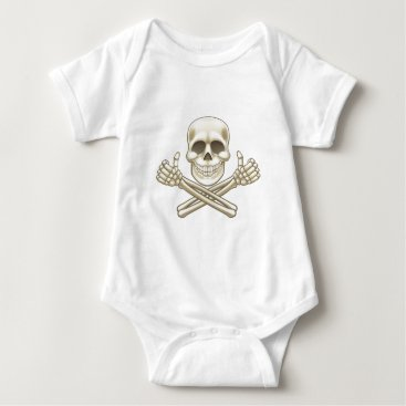 Halloween Themed Cartoon Skull and Crossbones Pirate Thumbs Up Baby Bodysuit
