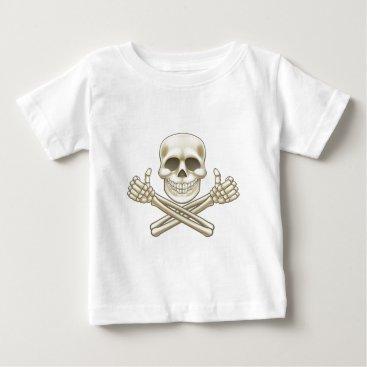 Halloween Themed Cartoon Skull and Crossbones Pirate Thumbs Up Baby T-Shirt