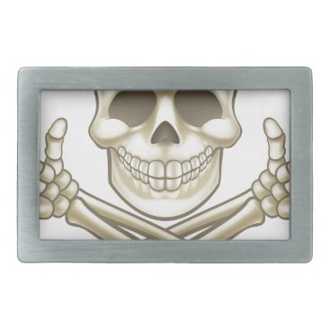 Halloween Themed Cartoon Skull and Crossbones Pirate Thumbs Up Belt Buckle