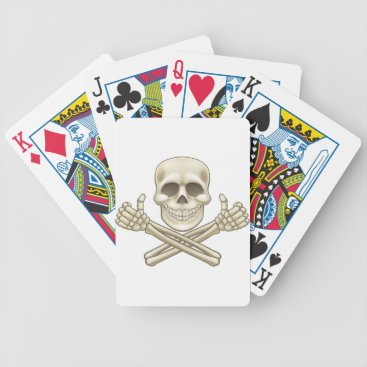 Halloween Themed Cartoon Skull and Crossbones Pirate Thumbs Up Bicycle Playing Cards