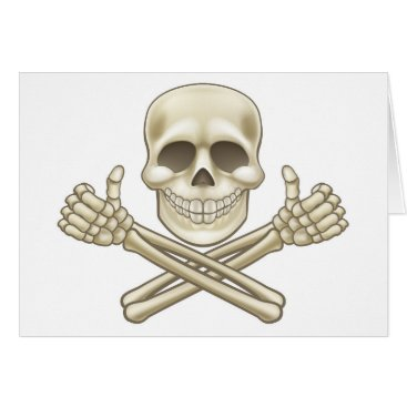 Cartoon Skull and Crossbones Pirate Thumbs Up Card