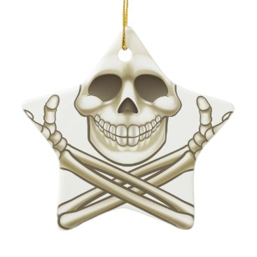 Halloween Themed Cartoon Skull and Crossbones Pirate Thumbs Up Ceramic Ornament