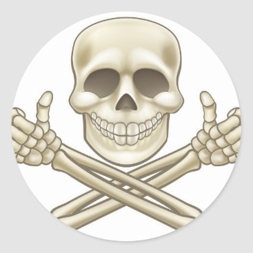 Halloween Themed Cartoon Skull and Crossbones Pirate Thumbs Up Classic Round Sticker