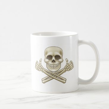 Cartoon Skull and Crossbones Pirate Thumbs Up Coffee Mug