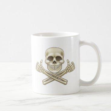 Halloween Themed Cartoon Skull and Crossbones Pirate Thumbs Up Coffee Mug