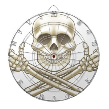 Halloween Themed Cartoon Skull and Crossbones Pirate Thumbs Up Dart Board