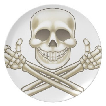 Halloween Themed Cartoon Skull and Crossbones Pirate Thumbs Up Dinner Plate