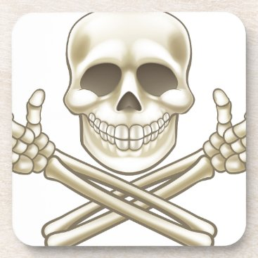 Halloween Themed Cartoon Skull and Crossbones Pirate Thumbs Up Drink Coaster