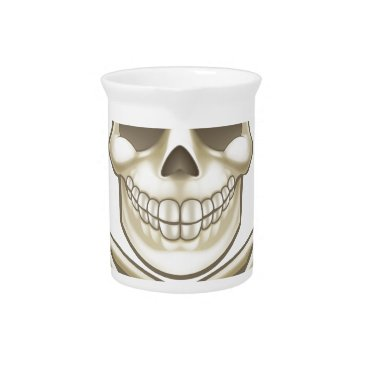 Halloween Themed Cartoon Skull and Crossbones Pirate Thumbs Up Drink Pitcher