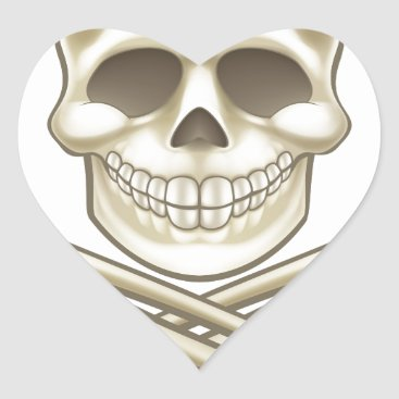 Cartoon Skull and Crossbones Pirate Thumbs Up Heart Sticker