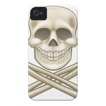 Cartoon Skull and Crossbones Pirate Thumbs Up iPhone 4 Case-Mate Case