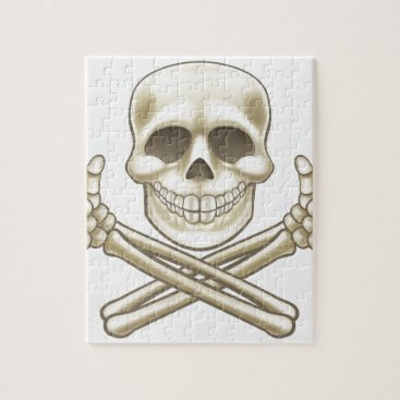Cartoon Skull and Crossbones Pirate Thumbs Up Jigsaw Puzzle