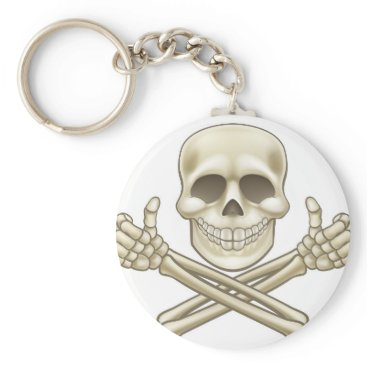 Halloween Themed Cartoon Skull and Crossbones Pirate Thumbs Up Keychain