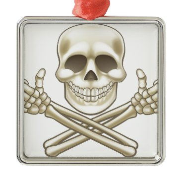 Halloween Themed Cartoon Skull and Crossbones Pirate Thumbs Up Metal Ornament