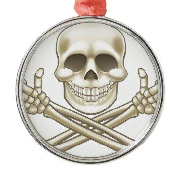 Cartoon Skull and Crossbones Pirate Thumbs Up Metal Ornament