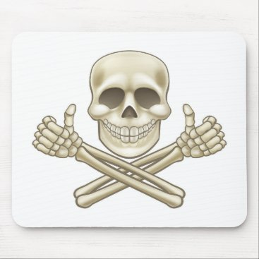 Cartoon Skull and Crossbones Pirate Thumbs Up Mouse Pad