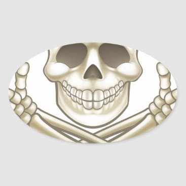 Halloween Themed Cartoon Skull and Crossbones Pirate Thumbs Up Oval Sticker