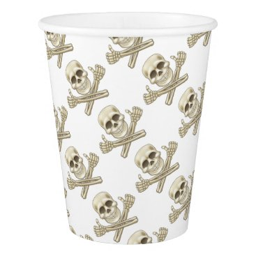 Cartoon Skull and Crossbones Pirate Thumbs Up Paper Cup
