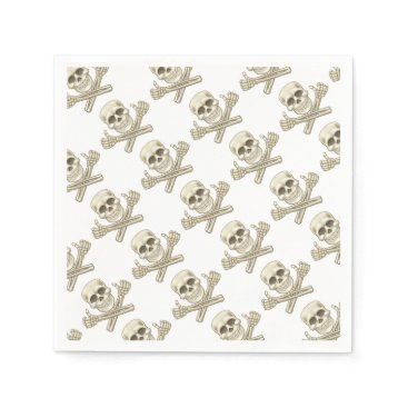 Cartoon Skull and Crossbones Pirate Thumbs Up Paper Napkin