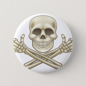 Halloween Themed Cartoon Skull and Crossbones Pirate Thumbs Up Pinback Button