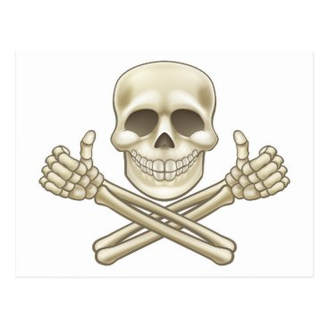 Cartoon Skull and Crossbones Pirate Thumbs Up Postcard