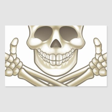 Halloween Themed Cartoon Skull and Crossbones Pirate Thumbs Up Rectangular Sticker