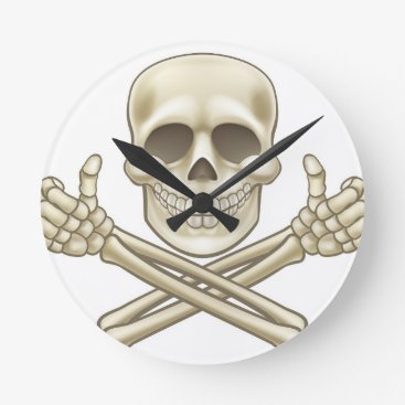 Halloween Themed Cartoon Skull and Crossbones Pirate Thumbs Up Round Clock