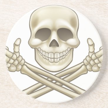Halloween Themed Cartoon Skull and Crossbones Pirate Thumbs Up Sandstone Coaster
