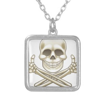 Halloween Themed Cartoon Skull and Crossbones Pirate Thumbs Up Silver Plated Necklace