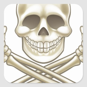 Halloween Themed Cartoon Skull and Crossbones Pirate Thumbs Up Square Sticker