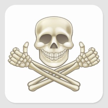 Cartoon Skull and Crossbones Pirate Thumbs Up Square Sticker