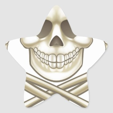 Halloween Themed Cartoon Skull and Crossbones Pirate Thumbs Up Star Sticker
