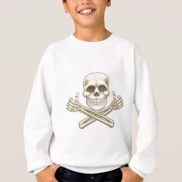 Halloween Themed Cartoon Skull and Crossbones Pirate Thumbs Up Sweatshirt