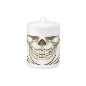 Halloween Themed Cartoon Skull and Crossbones Pirate Thumbs Up Teapot