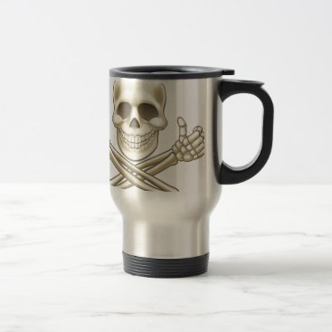 Cartoon Skull and Crossbones Pirate Thumbs Up Travel Mug