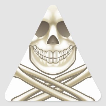Halloween Themed Cartoon Skull and Crossbones Pirate Thumbs Up Triangle Sticker
