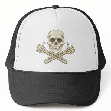 Halloween Themed Cartoon Skull and Crossbones Pirate Thumbs Up Trucker Hat