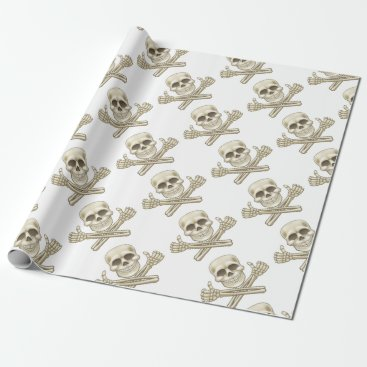 Cartoon Skull and Crossbones Pirate Thumbs Up Wrapping Paper