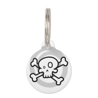 Cartoon Skull & Cross Bones Swirl Pet Tag