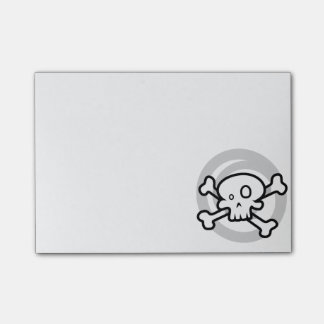 Cartoon Skull & Cross Bones Swirl Post-it Notes