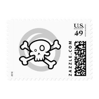 Cartoon Skull & Cross Bones Swirl Postage Stamps