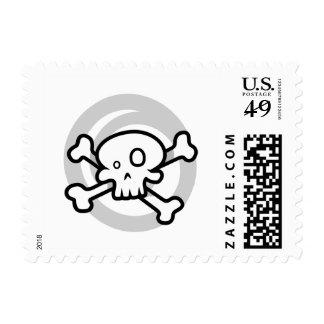 Cartoon Skull & Cross Bones Swirl Postage