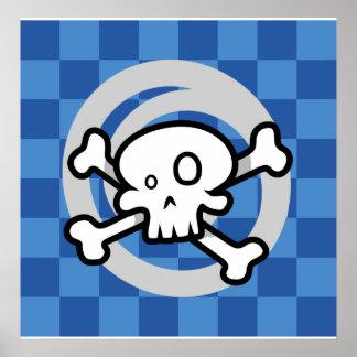 Cartoon Skull Cross Bones Swirl Posters