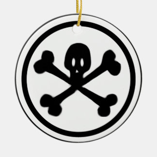 Cartoon Skull & Crossbones Logo Ceramic Ornament