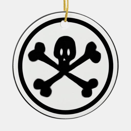 Cartoon Skull Amp Crossbones Logo Double Sided Ceramic Round