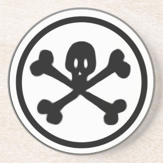 Cartoon Skull & Crossbones Logo Sandstone Coaster