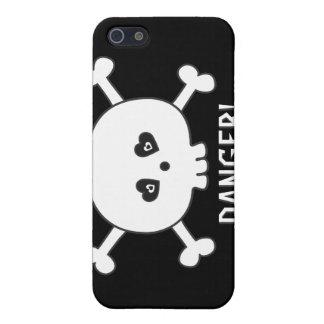 Cartoon Skull DANGER Black Custom iPhone 5 Cases