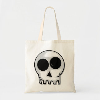 Cartoon skull face tote bag