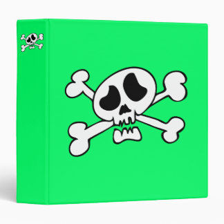 Cartoon skull head 3 ring binder