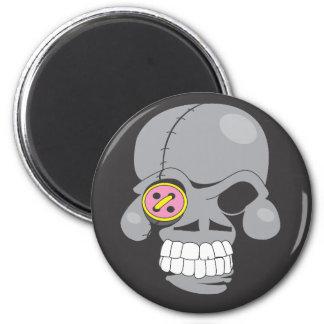 Cartoon skull patch magnet